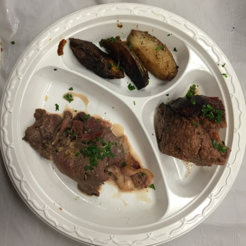 Clockwise from right: Venison Meatloaf, Sliced Venison Roast w/ Cognac Sauce, Rosemary Red Potatoes