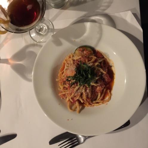 Rockport Lobster Trofie: corkscrew pasta, roasted zucchini, shaved garlic, fresh basil, organic tomato, sherry wine ($25)